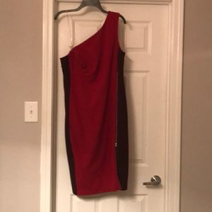 Red One-shoulder Colorblock Sheath Dress